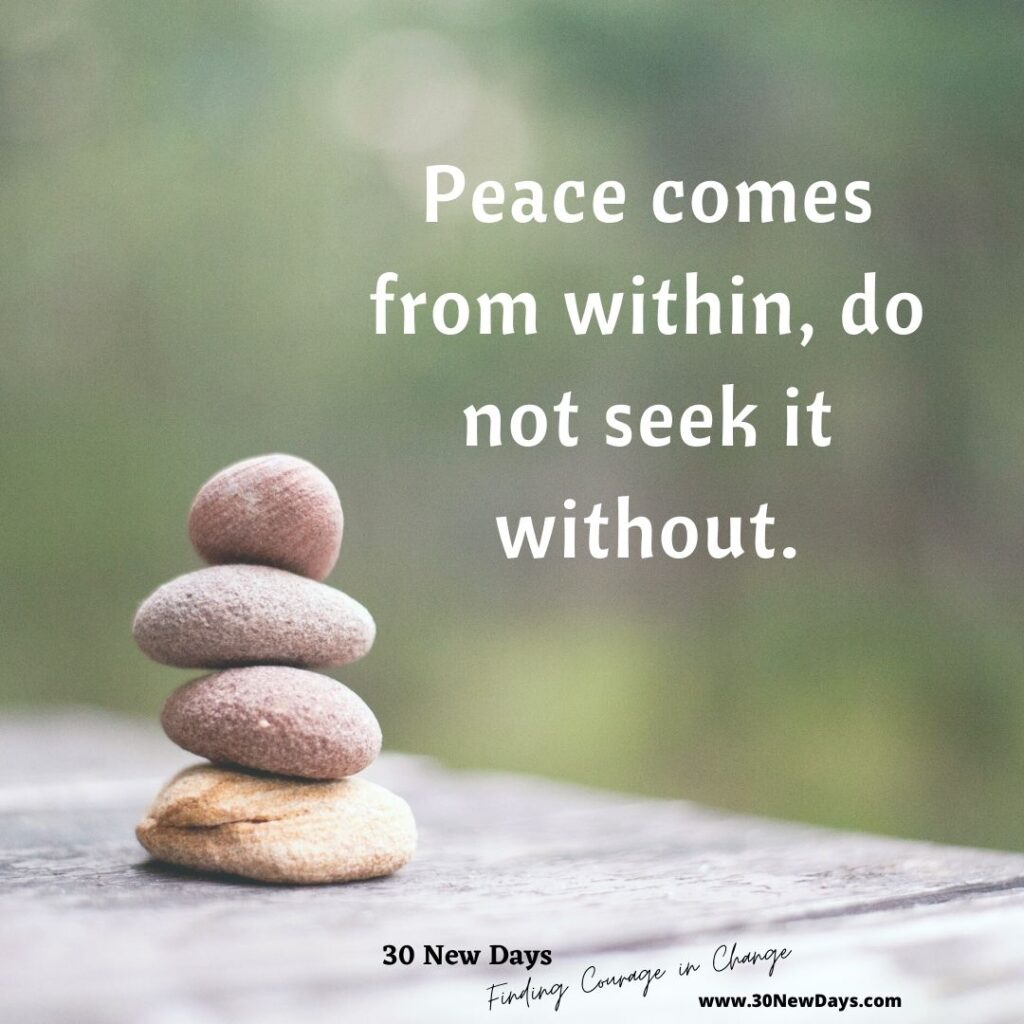 Peace comes from within, do not seek it without.