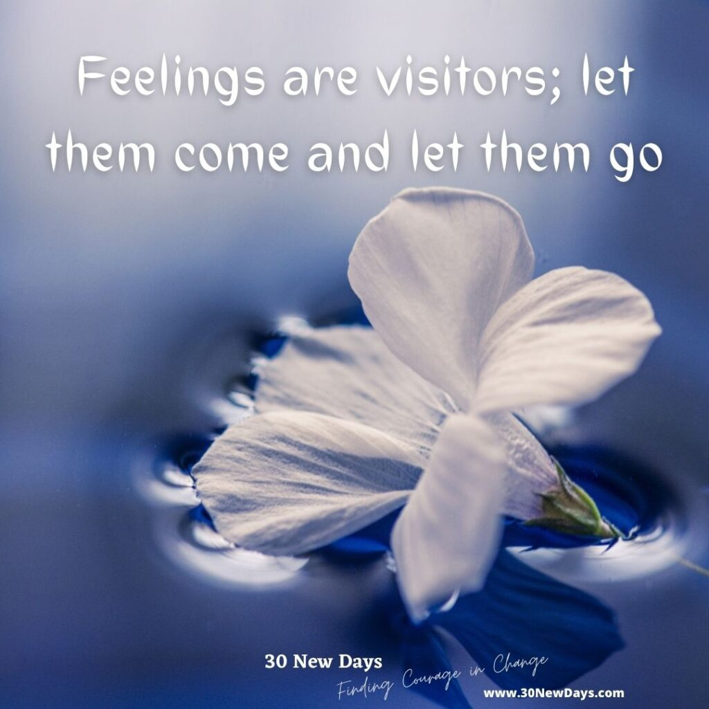 Feelings are visitors; let them come and let them go