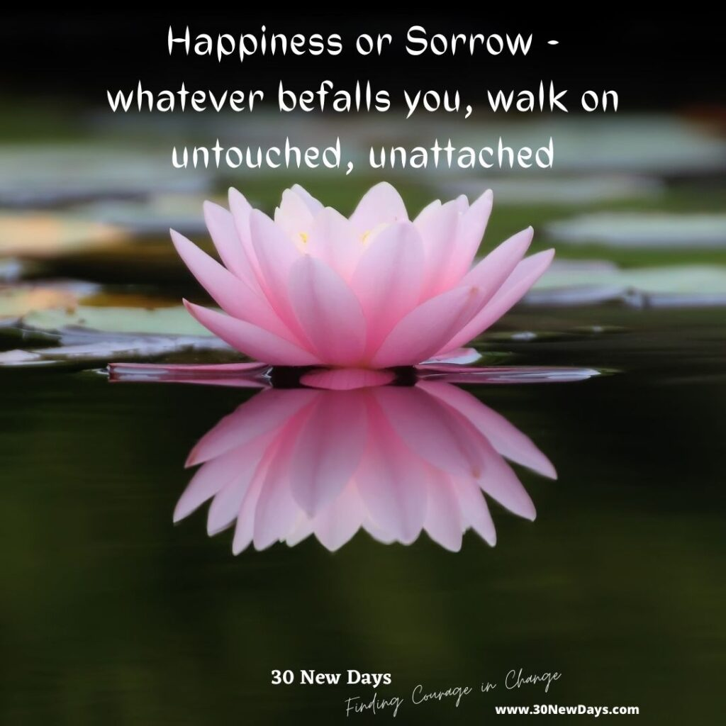 Happiness or Sorrow - whatever befalls you, walk on untouched, unattached
